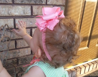 Baby Girls Headband Set Double Stack Bows 4 Inch Hair Bow Girl on Toddler Headbands Pick 4 Colors Personalized Big Bows Headband Baby Girl