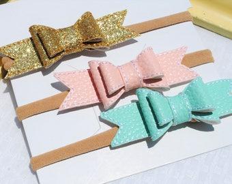 Baby Girl Headband Bows - Nylon Headband Set - 3 Stitched Faux Leather Bow - Blush Pink, Aqua, Gold Headband for Infant - Tiny Baby Bow Pack
