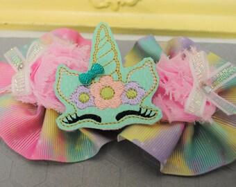 Magical Unicorn Baby Bow Headband for Baby Girl Aqua Flower Headband for Girls Sleepy Unicorn Bow Sleepy Eyes Unicorn Birthday Headband