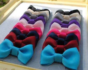 Baby Barrettes, Small Hair Bow Clips, Tuxedo Baby Bow Pairs, YOU PICK COLORS Custom Made 2 Match Hair Clips for Thick Hair Clips for Toddler