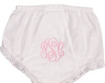 Embroidered Bloomers for Babies Custom Monogram Diaper Cover Girl Personalized Ruffled Panties Stitched Ruffled Baby Bloomers Baby Girl Gift