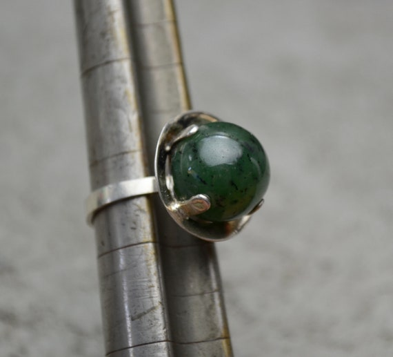 Old Pawn Silver Nephrite Jade Ring Modernist MCM R