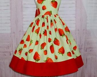 c7199b0f Green Gingham Girl Dress, Strawberry Girl Dress, Red and Green Dress, Green  and White Dress, Farm Girl Dress, Fruit Dress, Little Girl Dress