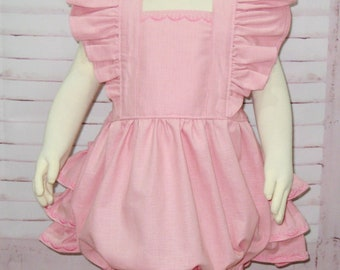 Pink Romper, Baby Pink Romper, Ruffle Romper, Baby Bubble Romper, Vintage Style Romper, Toddler Romper, Smash Cake Outfit, Girl Pink Romper