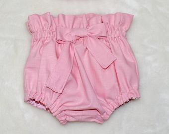 Pink Bloomer, Paper Bag Bloomer, Toddler Bloomer, Pink Diaper Cover, High Waist Bloomers, Newborn Bloomer, Girl Pink Bloomer