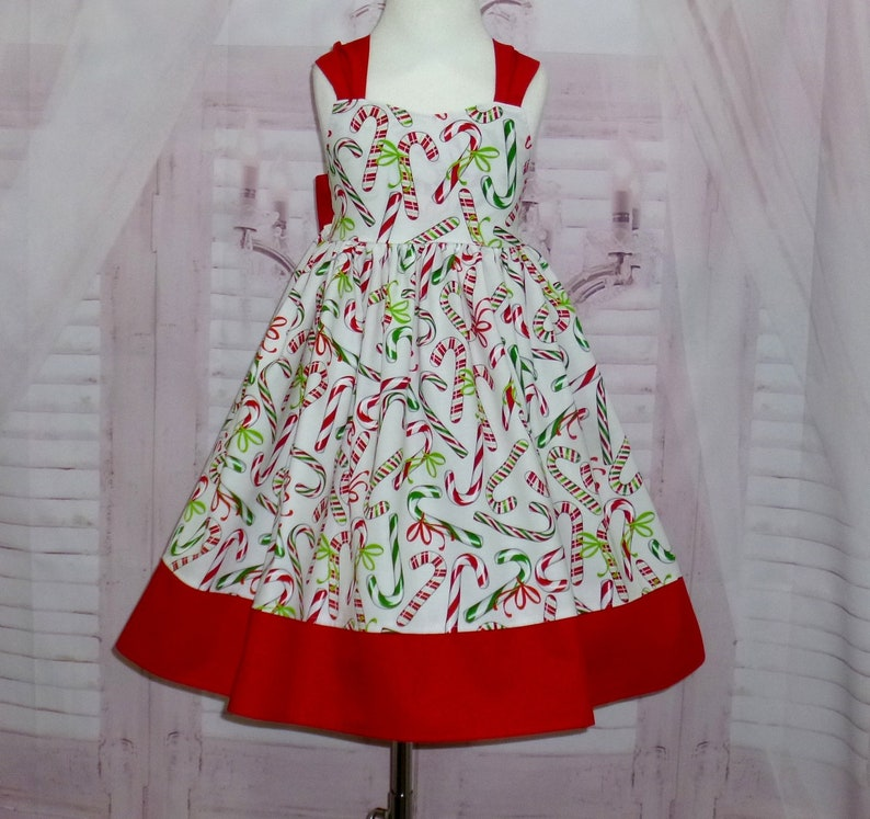 c7a25fd179dc SALE Girl Christmas Dress Candy Cane Dress Red and White   Etsy