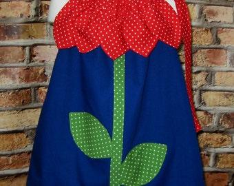 Flower Dress, Girl Flower Dress, Floral Dress, Girl Dress, Toddler Dress, Red and Blue Dress, Navy Blue Dress, Polka Dots Dress