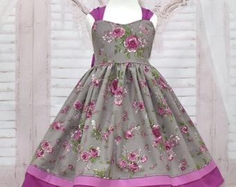Floral Dress, Girl Purple Dress, Girl Mauve Dress, Big Bow Dress, Girl Fall Dress, Plum Dress, Party Dress, Flower Girl Dress