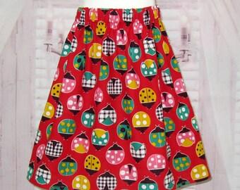 Ladybugs Skirt, Lady Bug Skirt, Girl Red Skirt, Toddler Skirt, Polka Dots Skirt, Back To School Skirt, Gingham Skirt, infant Red Skirt