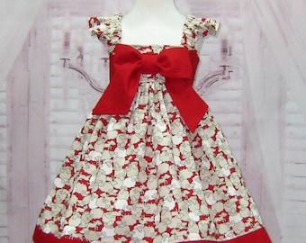 Girl Red Dress, Lamb Girl Dress, Flutter Sleeve Girl Dress, Toddler Red Dress, Farm Girl Dress, Big Red Bow, Birthday Dress, Tea Time Dress