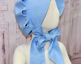 Blue Bonnet, Blue Ruffle Bonnet, Baby Bonnet, Girl Bonnet, Buttons Bonnet, Vintage Style Bonnet, Blue Girl Hat, Little Girl Blue Bonnet