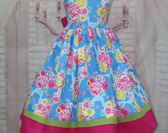 Blue Dress, Floral Dress, Flower Girl Dress, Blue and Pink Dress, Pink Flower Dress, Girl Blue Dress, Girl Flower Dress, Birthday Dress
