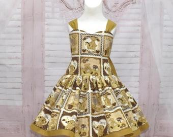 Teddy Bear Dress, Country Style Dress, Open Back Dress, Vintage Style Dress, Girls Summer Dress, Flower Girl Dress, Girl Brown Dress