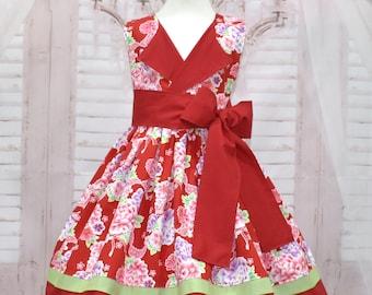 Vintage Style Girl Dress, Lapel Dress,  Flower Girl Dress, Red Girl Dress, Red and Green Girl Dress, Toddler Dress, Girl Floral Dress
