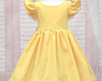 Girl Yellow Dress, Vintage Style Dress, Back Bow Dress, Yellow Bow,  Flutter Sleeves Dress, Green Dress, Classic Yellow Dress