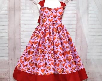 ON SALE SZ 4 Heart Dress, Girl Red Dress, Lilac Dress, Red Bow, Tea Time Dress, Party Dress, Birthday Dress. Valentine Dress, Toddler Dress