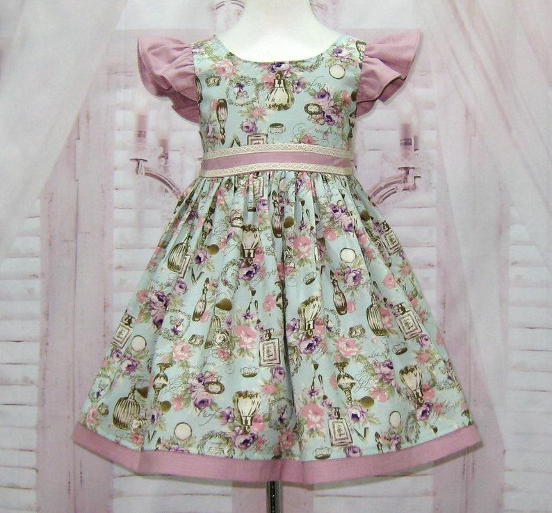 d8f7534cbb Vintage Style Girl Dress Tea Time Girl Dress Flower Girl