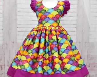 Rainbow Dress, Birthday Dress, Girl Party Dress, Colorful Dress, Whimsical Dress, Vintage Style Dress, Girl Summer Dress, Toddler Dress