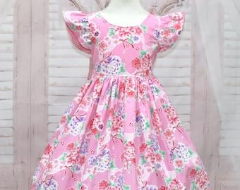 Girl Pink Dress, Vintage Style Girl Dress, Girl Floral Dress, Gingham Pink Dress, Birthday Girl Dress, Girl Easter Dress, Pink Flowers Dress