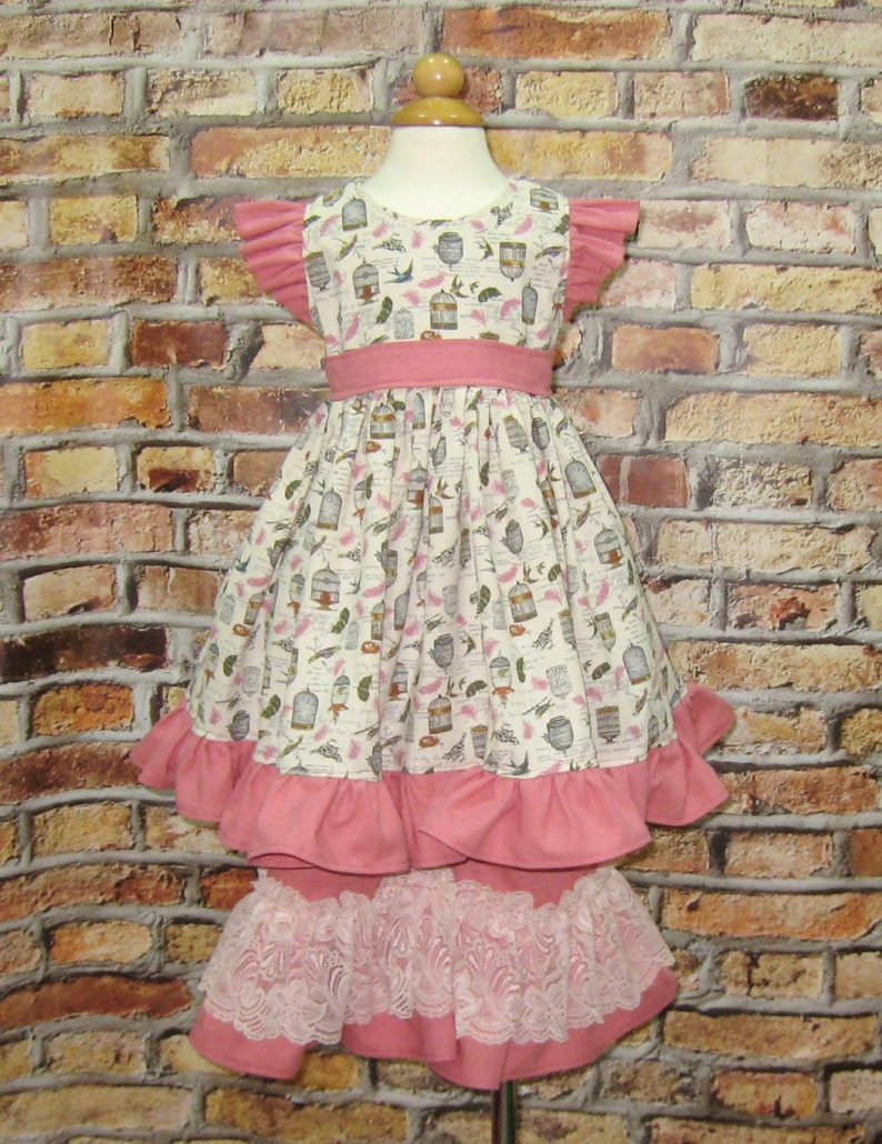 Ruffle Girl Pant Toddler Outfit Lace Pant Pink Girl Dress Birdcage Pink Outfit Boutique Style Dress, Vintage Style Girl Dress