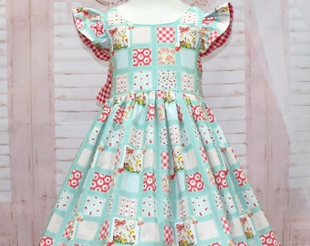 Little Lamb Dress, Vintage Style Dress, Red Gingham Dress,  Flutter Sleeve Dress, Big Bow, Birthday Girl Dress.