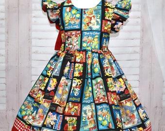 Retro Fabric Girl Dress, Vintage Style Dress, Girl black Dress, Kitty Cats Dress, Red Gingham Dress, Teddy Bear Dress, Red And Black Dress