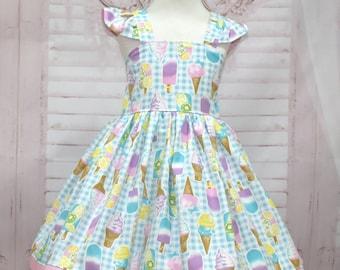 Ice Cream Dress, Girl Blue Dress, Girl Blue Gingham  Dress,  Tea Time Dress, Girl Party Dress, Toddler Ice Cream Dress, Girl Summer Dress