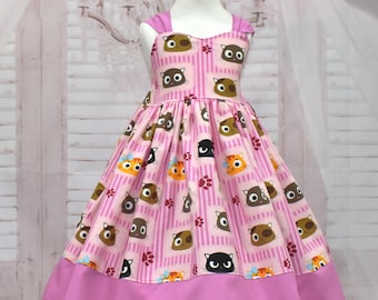 Cat Dress, Kitty Dress, Pink Cat Dress, Girl Pink Dress, Hot Pink Dress, Toddler Pink Dress,  Back Bow Dress, Paw Dress, Pink Bow Dress