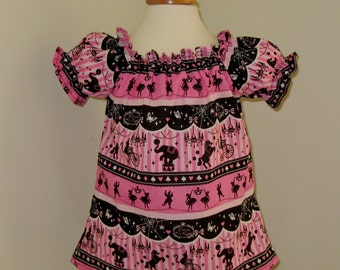 Carnival Top, Hot pink  Top, Hot Pink and Black Girl Top, Girl Blouse, Circus Top, Peasant Top, Pink Girl Blouse, Elephant Blouse