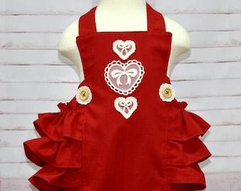 Red Baby Romper, Red Romper, Vintage Style Baby Romper, Red Bubble Romper, Red Ruffle Romper, Baby Girl Romper, Infant Red Romper