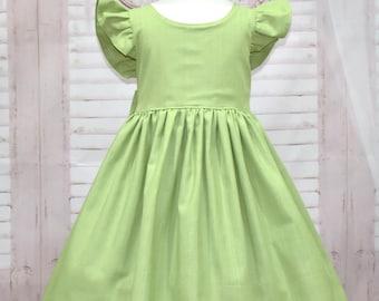 Girl Green Dress, Vintage Style Dress, Back Bow Dress, Green Bow,  Flutter Sleeves Dress, Green Dress, Classic Dress, Flower Girl Dress