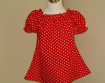 Red Polka Dots Peasant Top 12M   To 7, Red And White Girl Top, Infant Blouse, Toddler Top, Girl Red Top, Little Girl Top