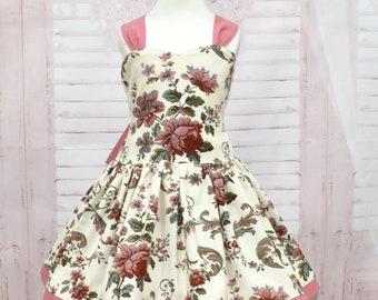 Girl Floral Dress, Dusty Rose Dress, Open Back Dress, Vintage Style Dress, Girls Summer Dress, Flower Girl Dress, Toddler Floral Dress