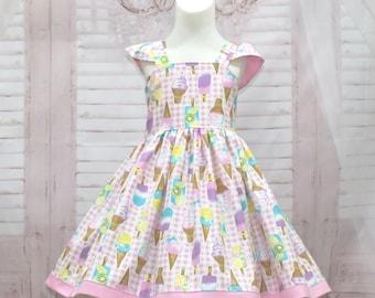 Ice Cream Dress, Girl Pink Dress, Girl Pink Gingham  Dress,  Tea Time Dress, Girl Party Dress, Toddler Ice Cream Dress, Girl Summer Dress