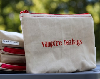 Embroidered Zipper Pouch-Vampire Teabags (EZip 1)