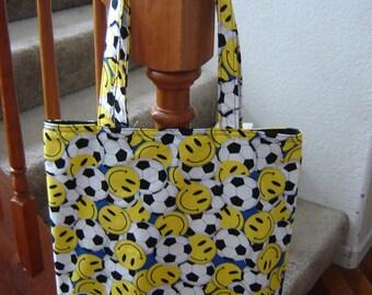 Large Tote-Smiling Soccer Balls (Bag 263)