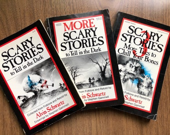 Scary Stories To Tell In The Dark Set All 3 Books By Alvin Schwartz