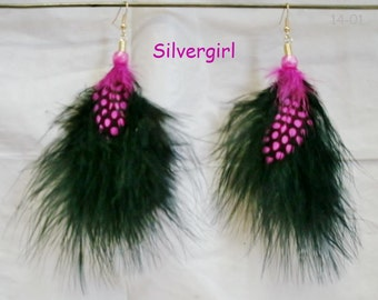 5 Different Colored Fun Fluffy Black Spotted Feather Earrings