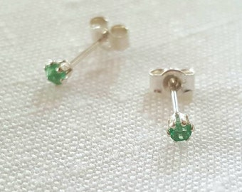 TGW 1 CTS Round 5MM Emerald Studs Gift For Her Stud Earrings Genuine Emerald Bridesmaid Gift Emerald Stud Earring Dainty Earrings
