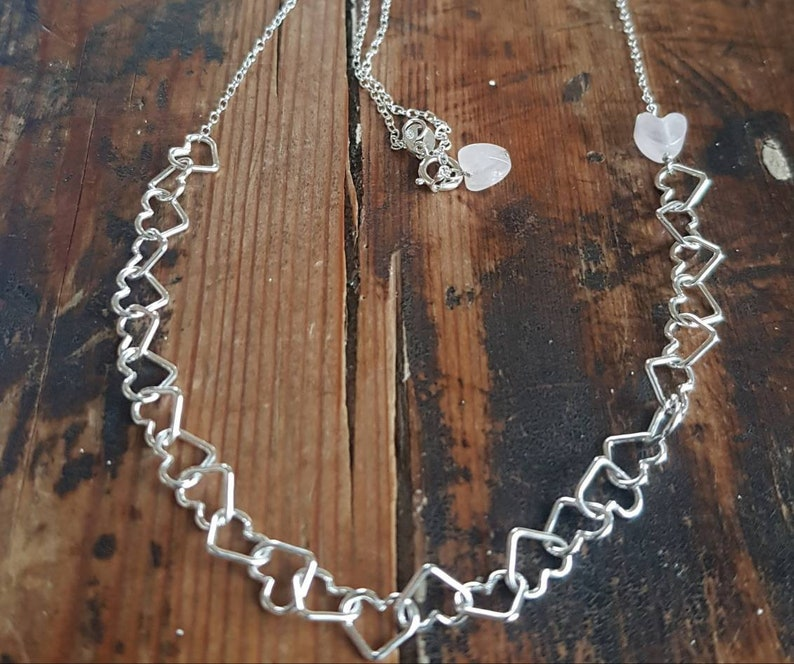 Silver heart chain necklace with rose quartz heart. Sterling image 0