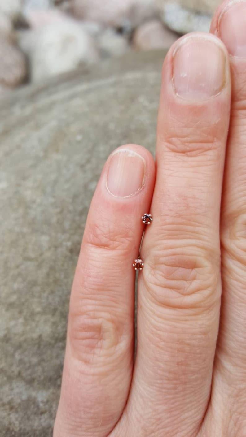 Tiny natural round cognac diamond earrings Genuine cognac diamond studs April birthstone jewellery. Diamond /& silver stud earrings