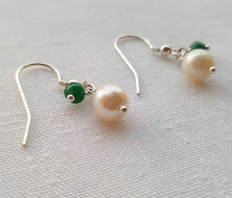 39ad599645e4a Pearl & emerald drop earrings. May birthstone. June birthstone. Genuine  emerald earrings.