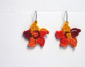 Crochet Earrings. Crochet Star Flowers, Dangle Earrings, Gift for her, Mother's Day Gift, Jewelry, Earrings in a Autumn Color Mix