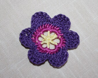 Crochet Flower Accessory, Flower Embellishment, Crochet Applique, DIY, Gift Wrap Embellishment in  Pale Yellow, Fuchsia, Violet