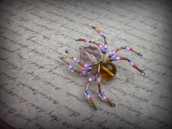 Pink and gold beaded spider ornament sun catcher etsy pink and gold beaded spider ornament sun catcher mightylinksfo