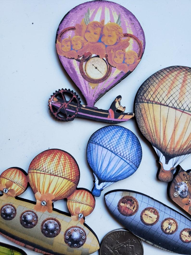 Steampunk Zeppelins Woodcuts  Laser Cut Art Parts