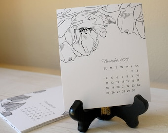 Sale - 2021 Desk Calendar with Wooden Easel Stand – Black and White Florals