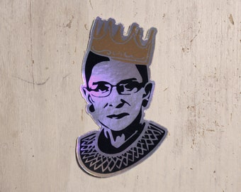 FIVE RBG Holographic Decal  - Ruth Bader Ginsburg Queen of Dissent - Sticker Quantity 5 Diecut Durable Waterproof Vinyl - Stocking Stuffer