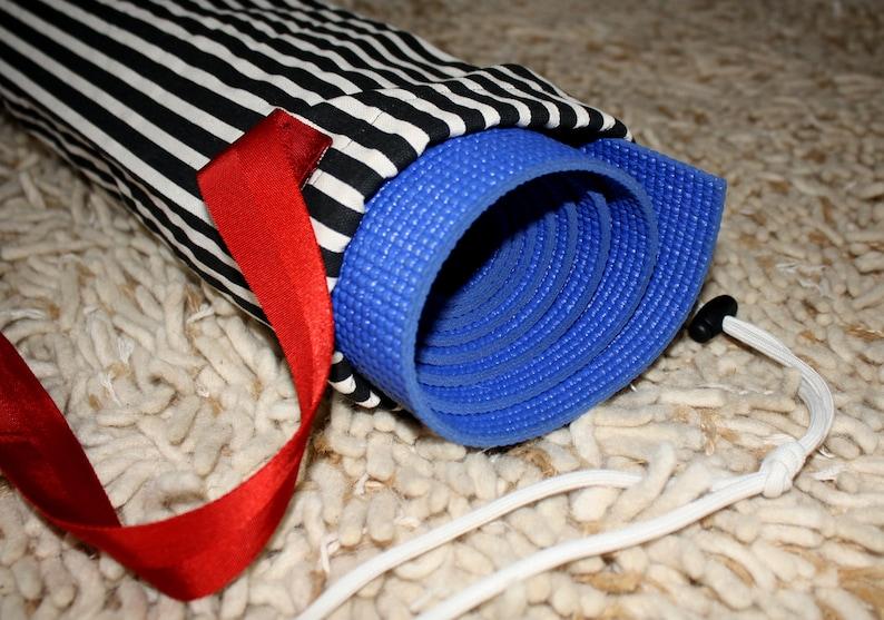Yoga Mat Bag  Black and White Stripes image 0