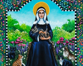 Saint Gertrude of Nivelles, Patron of Cats and Gardeners - 11 x 14 Print of Original Acrylic Painting by Carolee Clark